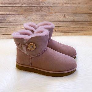 UGG Mini Bailey Button II Pink Crystal Boots